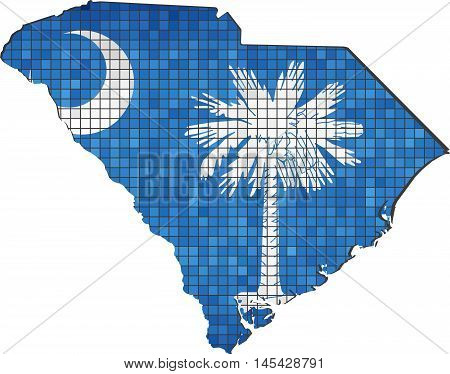 South Carolina map with flag inside - Illustration, South Carolina map grunge mosaic, Abstract grunge mosaic vector