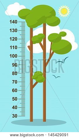 Trees On Blue Background. Children Height Meter Wall Sticker, Kids Measure. Vector