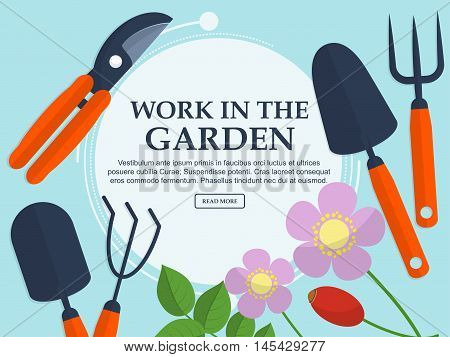 Set Of Garden Tools And Plants On A Light Background With Place For Your Text. Vector