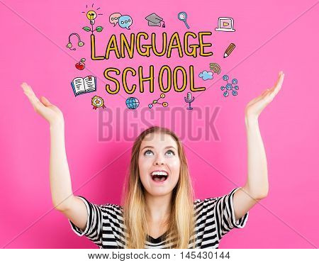 Language School concept with young woman reaching and looking upwards