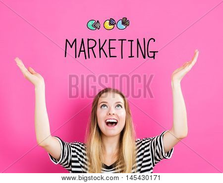 Marketing Concept With Young Woman
