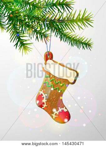Christmas tree branch with decorative cookie. Gingerbread christmas stocking hanging on pine twig. Vector image for new years day, christmas, winter holiday, decoration, new years eve, design, etc