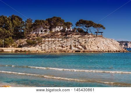 Views of the Bay of Paguera with a sandy beach and azure waters Mallorca Spain.