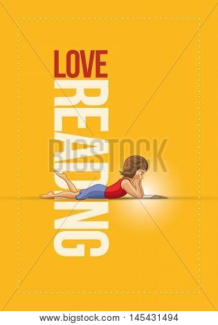 Girl lying down and reading book. Vector illustration and poster design template.