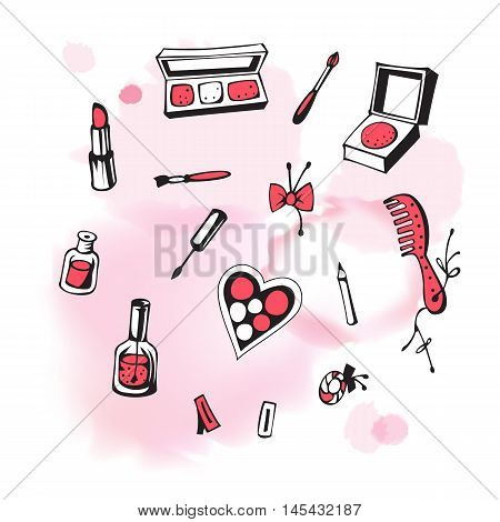 Vector set of cosmetics isolated on the background with watercolor pink spot. Hand-drawn illustration. Vector.