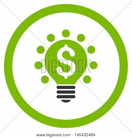 Business Patent Bulb rounded icon. Vector illustration style is flat iconic bicolor symbol, eco green and gray colors, white background.