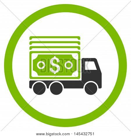 Cash Lorry rounded icon. Vector illustration style is flat iconic bicolor symbol, eco green and gray colors, white background.