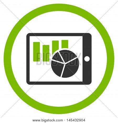 Charts on Pda rounded icon. Vector illustration style is flat iconic bicolor symbol, eco green and gray colors, white background.