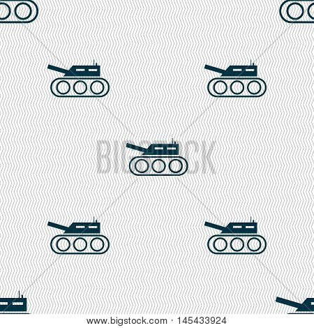Tank, War, Army Icon Sign. Seamless Pattern With Geometric Texture. Vector