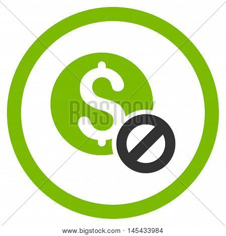 Free of Charge rounded icon. Vector illustration style is flat iconic bicolor symbol, eco green and gray colors, white background.
