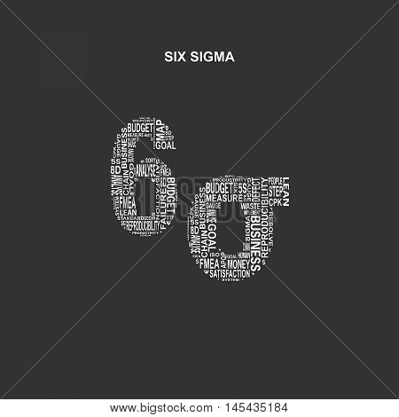 Six sigma typography background. Dark background with main title 6 sigma filled by other words related with six sigma method. Vector illustration