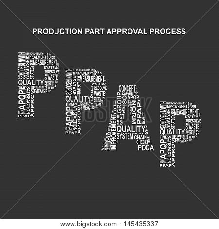 Production part approval process typography background. Dark background with main title PPAP filled by other words related with production part approval process method. Vector illustration