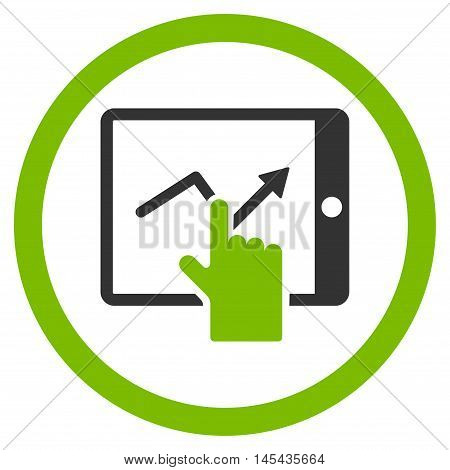 Tap Trend on Pda rounded icon. Vector illustration style is flat iconic bicolor symbol, eco green and gray colors, white background.