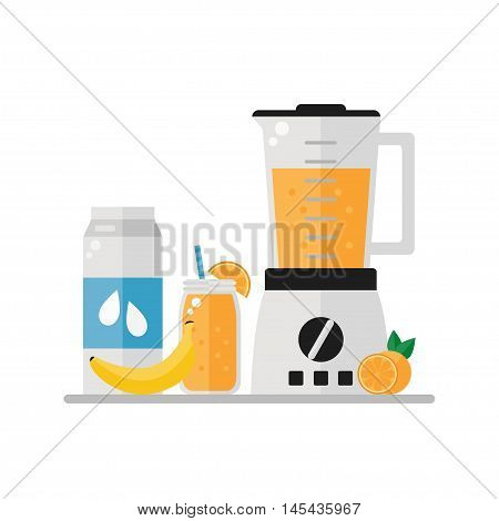 Breakfast image on white background. Smoothie, milk, fruits, blender. Healthy breakfast. Flat style vector illustration.