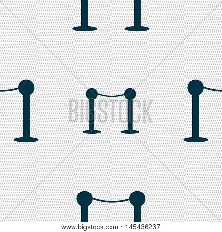 Cinema Fence Line Icon Sign. Seamless Pattern With Geometric Texture. Vector
