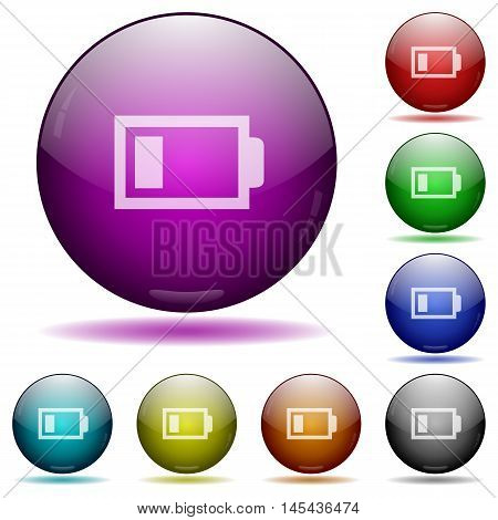 Set of color low battery glass sphere buttons with shadows.