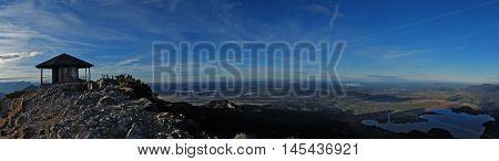 panorama of Herzogstand peak at dusk on summer