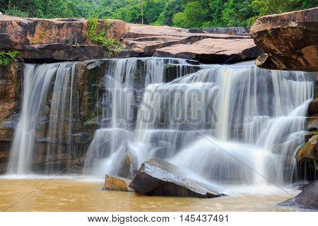Orange Waterfall Of Thailand In Rainny Season