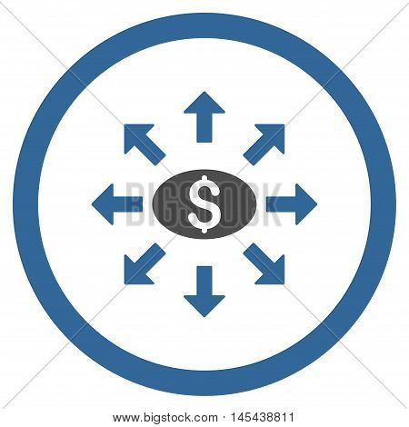Mass Cashout rounded icon. Vector illustration style is flat iconic bicolor symbol, cobalt and gray colors, white background.