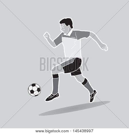 Soccer player, soccer ball. Championship Soccer Vector illustration. Sport icon. Football banner. World football cup.