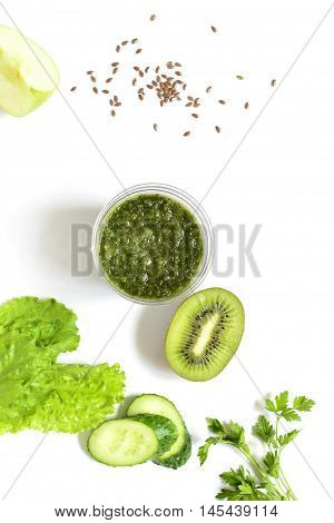 Healthy green smoothies with ingredients. Detox vegetarian diet concept,  vertical, top view