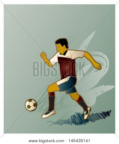 Retro abstract background with soccer player and soccer ball, vector illustration. Football player Hand Drawn. World. European championship league player.