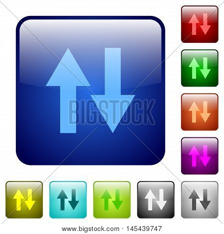 Set of data traffic color glass rounded square buttons