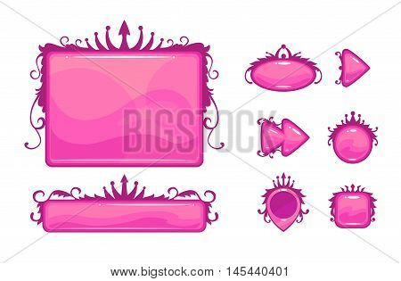 Beautiful pink game user interface including different buttons and information panel. Royal style gui vector assets, isolated on white