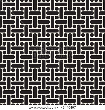 Vector Seamless Black And White Rounded Lines Lattice Pattern. Abstract Geometric Background Design