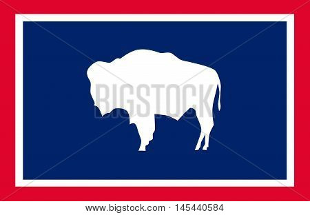 Flag of Wyoming is a state of the Western United States. Vector
