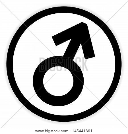 Gender male symbol button on white background. Vector illustration.