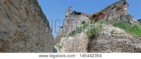 Panoramic view of one interior part at the citadel ruins of Deva (Transylvania Romania). Built in 1250 is located at a height of 371 meters above the city.