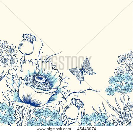 Vector floral background with poppy wildflowers and butterfly. Hand drawn vector illustration.