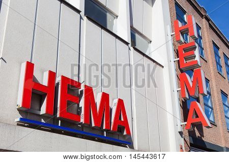 Amsterdam, The Netherlands - August 23, 2016: Hema sign.Hema is a Dutch discount retail chain that started life as a dimestore. Hema has been owned by the British investment firm Lion Capital.