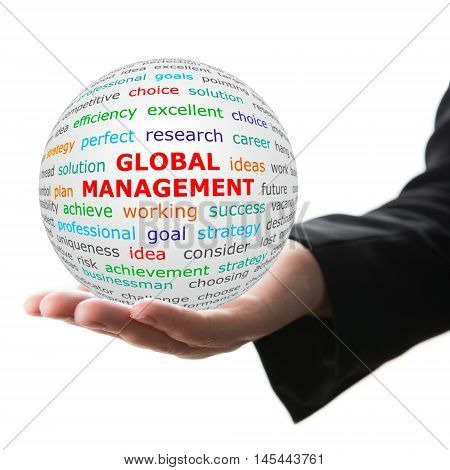 Coach concept. Hand take white ball with wordcloud and global marketing words in red color.