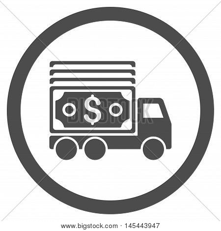 Cash Lorry rounded icon. Vector illustration style is flat iconic symbol, gray color, white background.