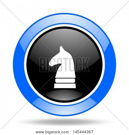 chess horse round glossy blue and black web icon