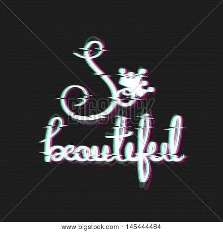 So beautiful Card. Housewarming design. Royal Themed Glitch Art Style Print. Distortion Text. Vector Illustration. Poster for teen girls.