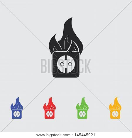 electrical outlet fire  vector icon for web and mobile