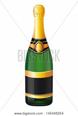 A bottle of champagne. Unopened bottle of champagne isolated on a white background. Vector illustration