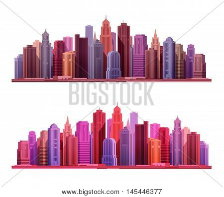 Big modern city with skyscrapers. Construction, building icons. Vector illustration