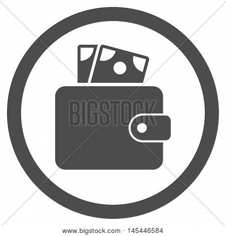 Wallet rounded icon. Vector illustration style is flat iconic symbol, gray color, white background.