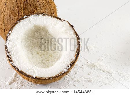 Halved Fresh Coconut And Powder