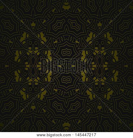 Abstract geometric seamless background. Regular ellipses ornament with golden brown elements and outlines on black, ornate and elegant.