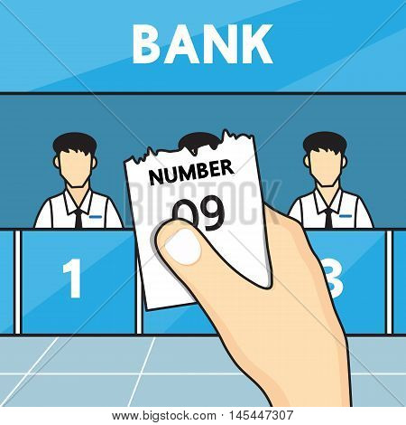 Hand holding ticket queue in the bank.
