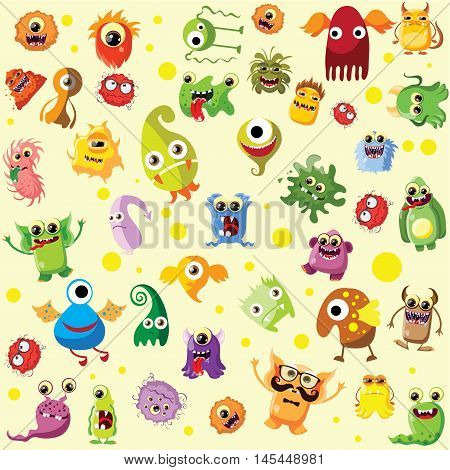 Vector set of drawings of different characters isolated monsters, germs, bacteria, aliens and other Halloween characters for your design, prints and banners