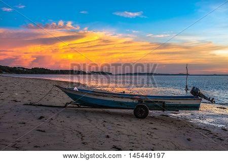 Labuan,Malaysia-Sept 3,2016:Fisherman boat at Labuan Pearl Of Borneo,Malaysia on 3rd Sept 2016 during beautiful sunset at Labuan tropical island,nature background.