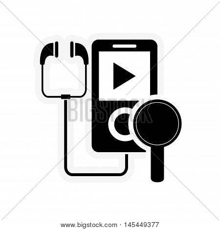 flat design mp3 player and magnifying glass icon vector illustration