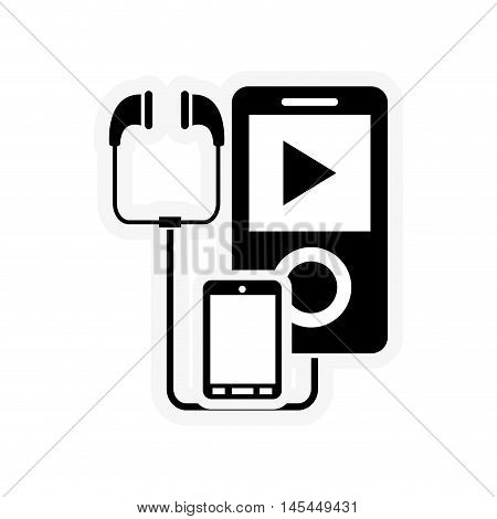 flat design mp3 player and cellphone icon vector illustration