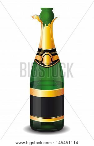 Uncorked a half-empty bottle of champagne isolated on a white background. Vector illustration.